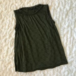 Halogen Eyelet Sleeveless Blouse Olive Green
